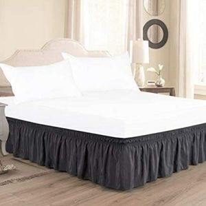 Wrap Around Bed Skirts for King & Cal King Beds 15 Inch Drop, Multiple Colors